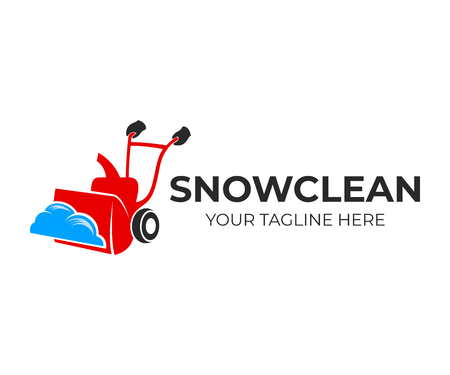 Spazzaneve o spazzaneve per rimuovere la neve, design del logo. Macchina per la rimozione della neve domestica o turbina da neve per rimuovere la neve, disegno vettoriale e illustrazione Logo