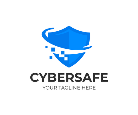 Cyber security shield logo design.
