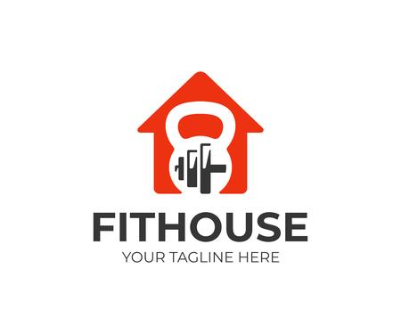 Plantilla de logotipo de centro de salud y fitness. Diseño vectorial de casa fitness. Casa con logotipo de pesas rusas y mancuernas.