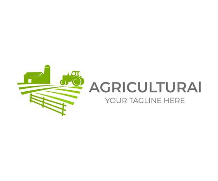 Agricoltura, agricoltura e allevamento con fattoria e trattore sul campo, logo design. Agroalimentare, fattoria ecologica, fienile con silo in campagna, disegno vettoriale. Industrie agricole e agronomia, illustrazione Logo