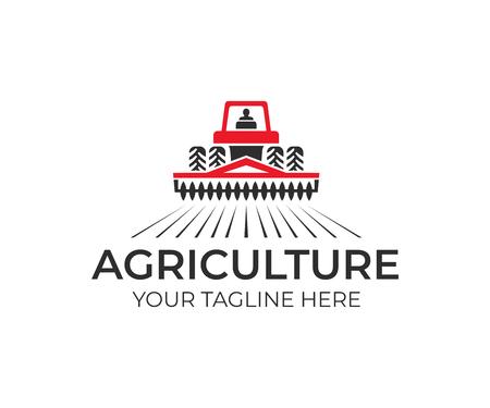 Agricoltura e allevamento con un trattore con un coltivatore e aratro, design del logo. Agroalimentare, eco-fattoria e paese rurale, disegno vettoriale. Industrie agricole e agronomia, illustrazione Logo