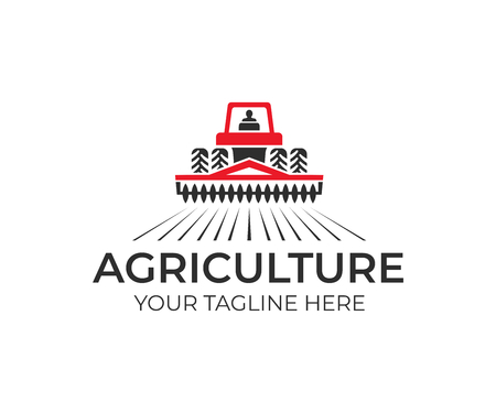 Agriculture and farming with a tractor with a cultivator and plow, logo design. Agribusiness, eco-farm and rural country, vector design. Farm industries and agronomy, illustration Çizim