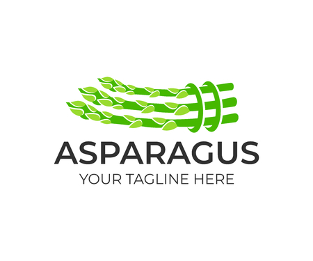 Usine d'asperges, liée en paquet, création de logo. Alimentation naturelle et biologique, agriculture et nature, conception et illustration de vecteur Logo