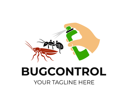 Hand holds spray and sprinkles on ants and cockroach, logo design. Pest control and bug control, in home and in agriculture, vector design. Nature, agricultural and house, illustration