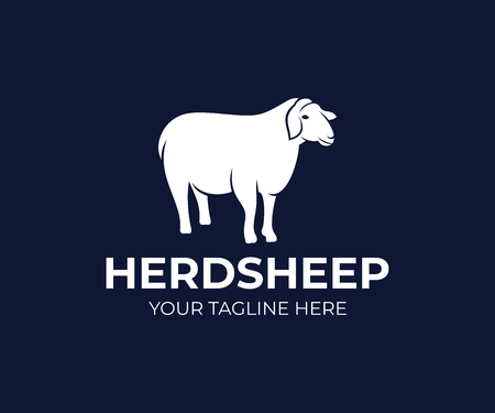 Pet sheep or agricultural animal, logo design. Ranch, farm, animal breeding, stock raising and animal husbandry, vector design and illustration