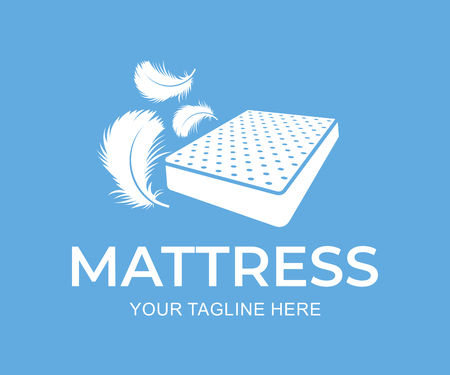 Mattress with down and feathers, logo design. Furniture and bedding, vector design and illustration