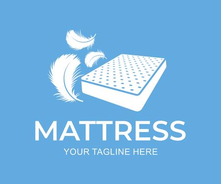 Matras met dons en veren, logo-ontwerp. Meubels en beddengoed, vector ontwerp en illustratie