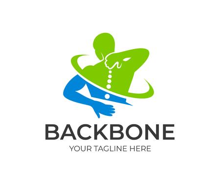 Spine pain in the sacral and cervical region. Spine medicine and backbone health, vector design and illustration Illustration