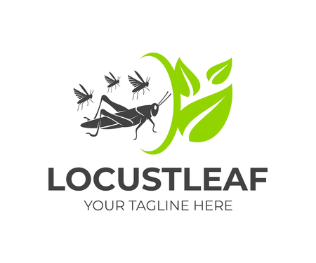 Locust and flock of grasshoppers with leaves and rotation, logo design. Agriculture and agricultural, farm and farming, food and plant, animal and insect, vector design and illustration