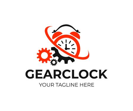 Wecker und Zahnräder mit Twist und Wirbelwind, Logo-Design. Zeit, Mechanismus, Industrie und Technik, Vektordesign und Illustration