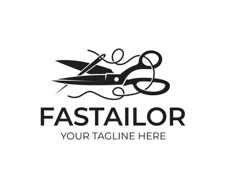 Kleermaker, schaar en naald met draad, logo-ontwerp. Naaien, handwerken, kleding en werkterrein, vectorontwerp en illustratie