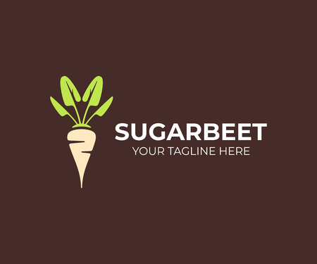 Sugar beet plant logo design. Sugarbeet root vector design. Beetroot logotype Illusztráció