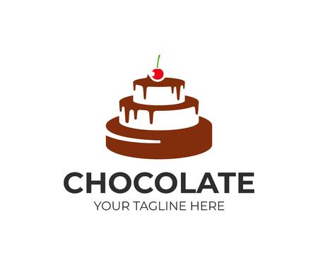 Chocoladetaart met kersenlogo-ontwerp. Patisserie vector ontwerp. Logo van de bakwinkel