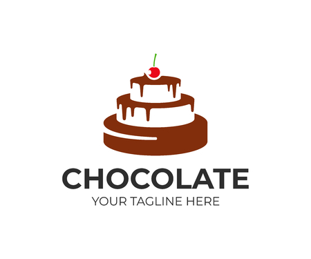 Pastel de chocolate con diseño de logo de cereza. Diseño vectorial de pastelería. Logotipo de panadería