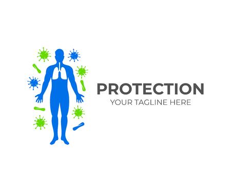 Silhouette des Menschen mit Lungen und um ihn herum. Viren und Mikroben, Logo-Design. Gesundheitswesen, Gesundheit, Medizin und Wissenschaft, Vektordesign und Illustration Logo