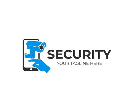 Cámara de vigilancia, teléfono inteligente y prensas de brazo o mano en pantalla táctil, diseño de logotipo. Seguridad, tecnología e innovación, diseño e ilustración vectorial