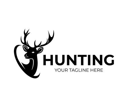 Caza y ciervos con cuernos, diseño de logotipos. Naturaleza y vida silvestre, diseño e ilustración vectorial