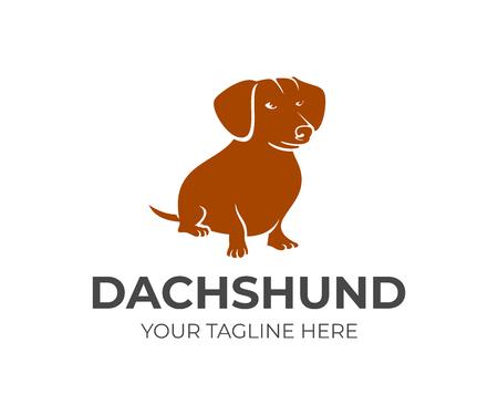 Dog breed dachshund sitting, logo design. Animal and pet, vector design and illustration