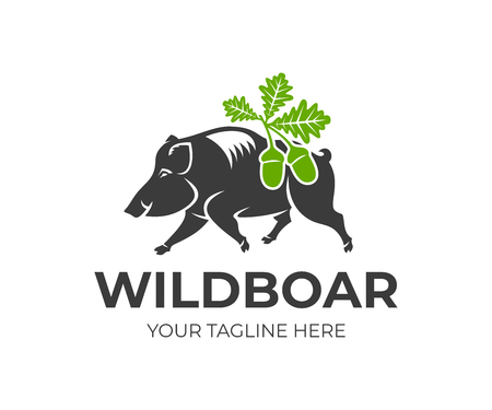 Wild boar and oak leaves with acorns, logo design. Animal, hunting, nature and wildlife, vector design and illustration