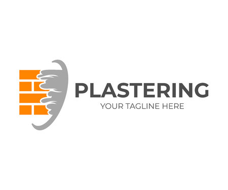 Brick wall with plaster or plastering, logo design. Construction, repair and finishing works, vector design and illustration