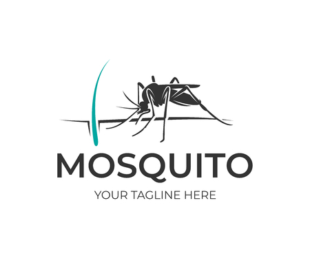 Mosquito sits on human skin with hair and follicle, logo design. Insect bloodsucking, nature, wildlife and healthcare, vector design