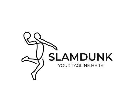 Basketball player logo design. Slam dunk vector design. Streetball logotype