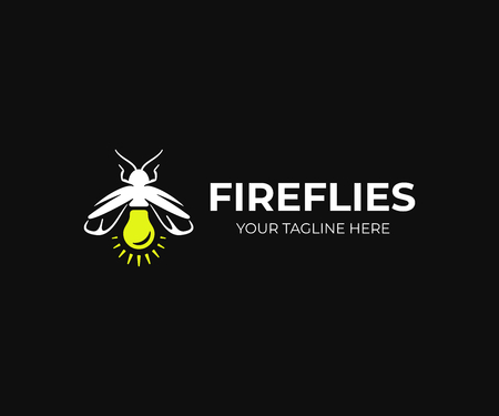 Firefly logo design. Lightning bug vector design. Lampyridae logotype