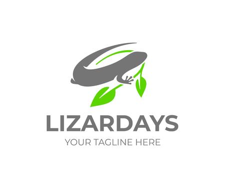 Common wall lizard logo design. Lizard silhouette with leaves vector design. Gecko logotype