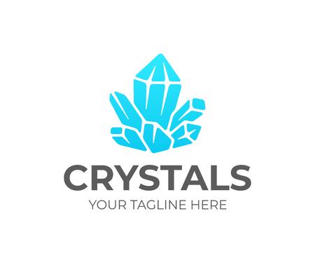 Création de logo de cluster de cristal de quartz. Conception de vecteur d'améthyste. Logotype de pierres précieuses Logo