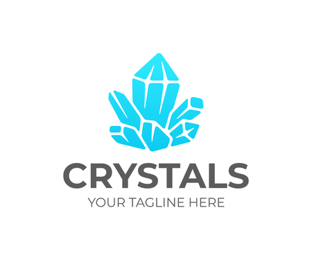 Quartz crystal cluster logo design. Amethyst vector design. Gemstone logotype Illustration
