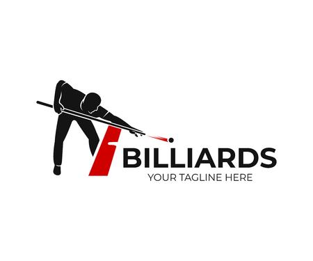 Biljart, mens naast rode tafel met snookerkeus en ballen, logo-ontwerp. Biljart sportspel en toernooi met speler, vector ontwerp en illustratie