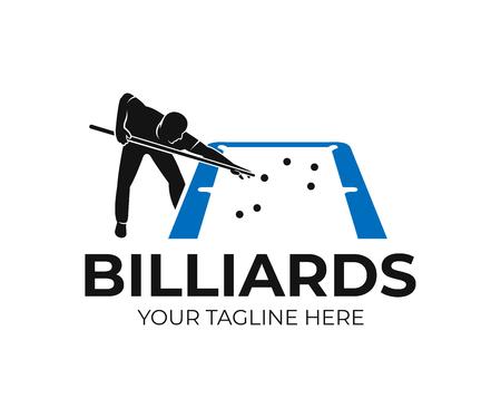 Poolbiljart, mens naast blauwe tafel met snookerkeus en ballen, logo-ontwerp. Biljart sportspel en toernooi met speler, vector ontwerp en illustratie Logo