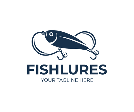 Fishing line and fish logo Animal, wildlife and angling on nature or river, vector design and illustration Illustration