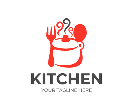 Kitchen, kitchenware, saucepan, fork and spoon logo design. Cooking eat, food and restaurant, vector design