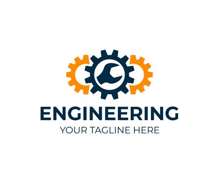 Ingegneria, ingranaggi e chiave inglese, design del logo. Riparazione, assistenza, industria, industria e meccanica, disegno vettoriale e illustrazione