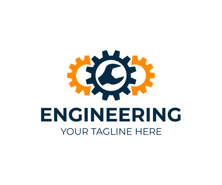 Engineering, gears and wrench, logo design. Repair, service, industry, industrial and mechanical, vector design and illustration
