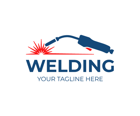 Welding torch with spark logo design. Welder tool vector design. Welding work logotype Stock fotó - 110479307