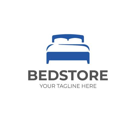 Tweepersoonsbed met kussen en dekbedlogo-ontwerp. Slaapkamer meubilair vector design. Matras logotype