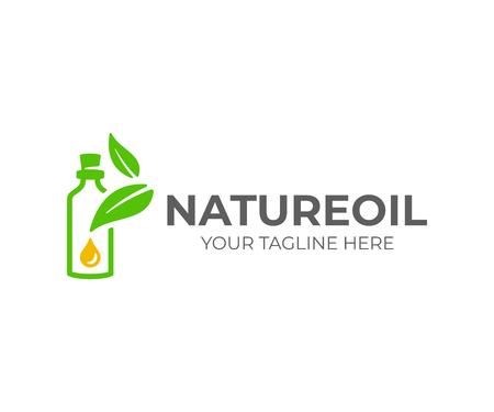 Etherische olie logo ontwerp. Natuurlijke olie met vers kruiden vectorontwerp. Etherische oliefles met bladerenlogotype Logo
