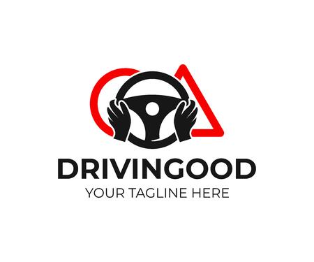 Scuola guida, logo di design delle mani. Formazione, veicolo, trasporto e trasporto, disegno vettoriale e illustrazione
