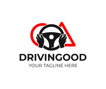Szkoła jazdy, logo projektu ręce. Szkolenie, pojazd, transport i transport, projektowanie i ilustracje wektorowe