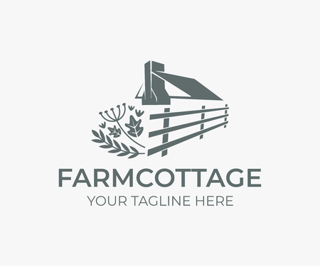 Wedding farm cottage, roof and chimney with fence and herbs logo design. House or rural Illustration