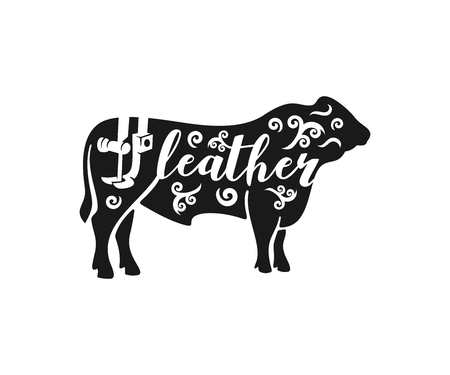 Bull, leather and leather sewing machine, logo design. Animal, animal husbandry, farming, leather, leather, vector design and illustration