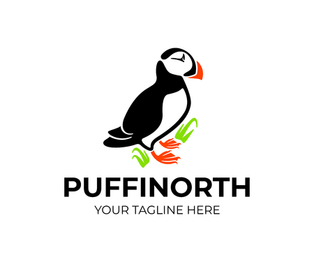 Puffin bird is sitting on grass and rock, logo design. Animal, wildlife, nature, atlantic puffin and puffin colony, vector design and illustration Illustration