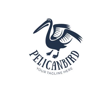 Pelikan z podniesionymi skrzydłami, projekt logo. Zwierzęta, dzika przyroda, przyroda i ptaki wodne, projekty wektorowe i ilustracje