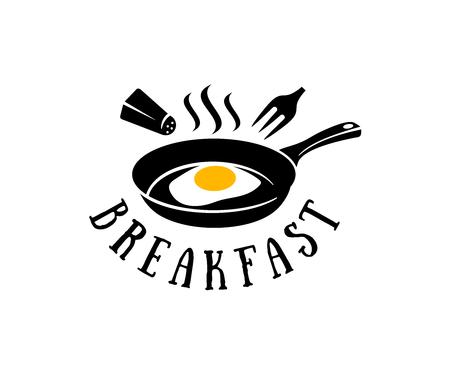 Sartén con huevos fritos, salero y tenedor, diseño de logotipos. Desayuno, restaurante, snack bar, comida rápida, comida orgánica y natural, diseño vectorial Logos