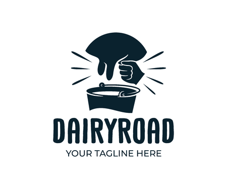 UDD Farm, farming, agriculture, cattle and dairy products, vector design and illustration