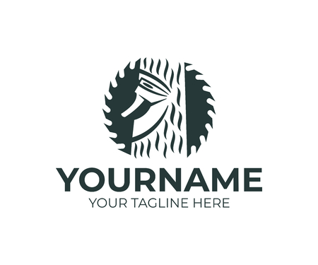 Kreissägenscheibe, Holzfäller-Hackbaum mit Axt, Logo-Design. Tischlerei, Bau, Tischlerei, Holz- und Tischlerei, Vektordesign und Illustration Logo