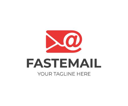 Progettazione del logo della lettera di posta. Disegno vettoriale di busta di posta elettronica. Posta elettronica con logotipo segno arobase
