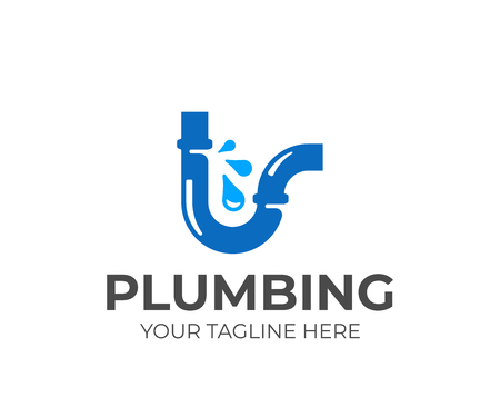 Broken water pipe logo design. Plumbing vector design. Leaking water logotype